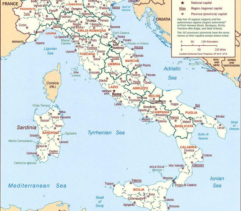 L'Italia ha 20 regioni: regio's, eilanden, steden