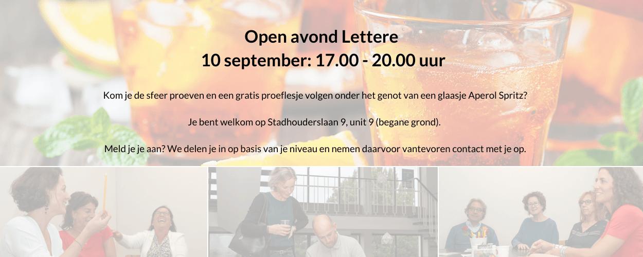 Open Avond 10 september